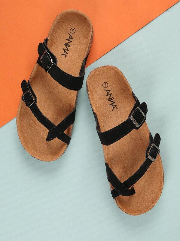 5b0d1f1d3f246c Faux Suede Strappy Sandals -SheIn(Sheinside)