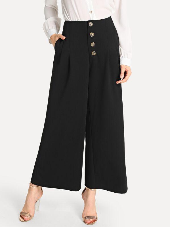 Pantalones anchos con botón con bolsillo oblicuo-Spanish SheIn(Sheinside) b022f4906ac