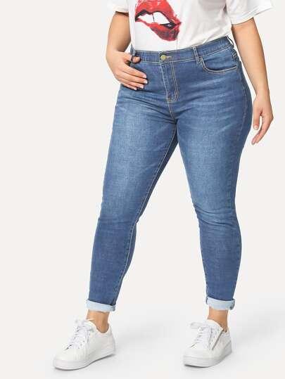 a3350223f49 SHEIN Plus Bleach Wash Skinny Jeans