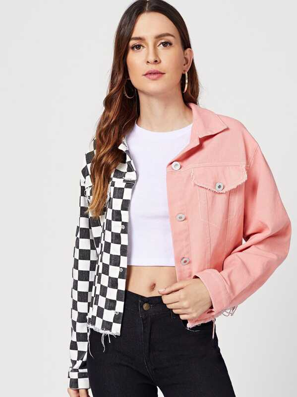 Two Tone Flap Pocket Buttoned Jacket by Shein