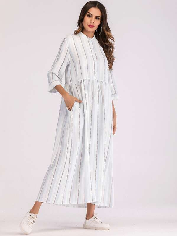 Stripe Smock Maxi Shirt Dress, Beige, Andy