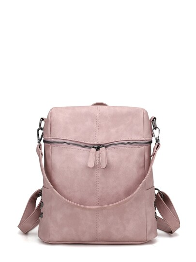 1001ddd091 Zipper Front PU Backpack With Convertible Strap
