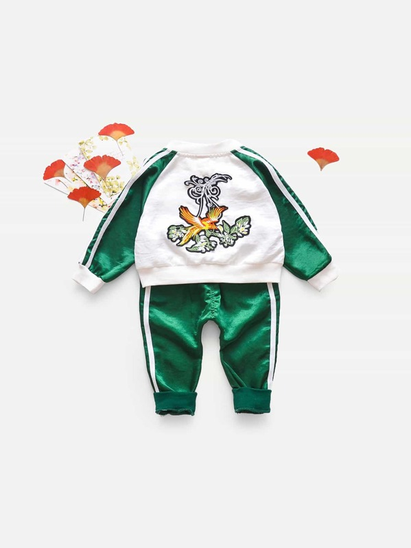 Toddler Boys Contrast Tape Side Embroidered Jacket With Pants