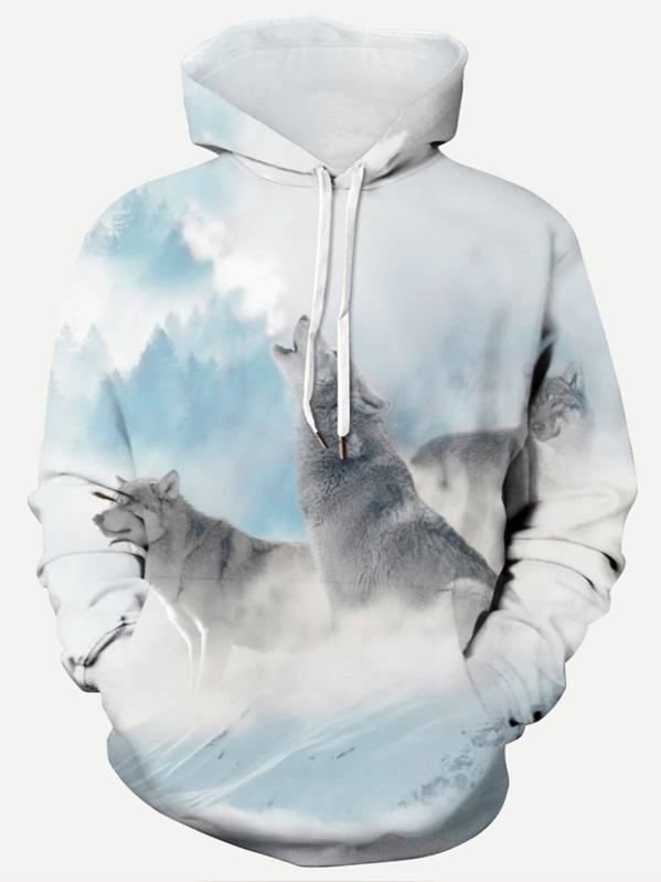 eaf149880d Cheap Men Wolf Print Hooded Sweatshirt for sale Australia | SHEIN