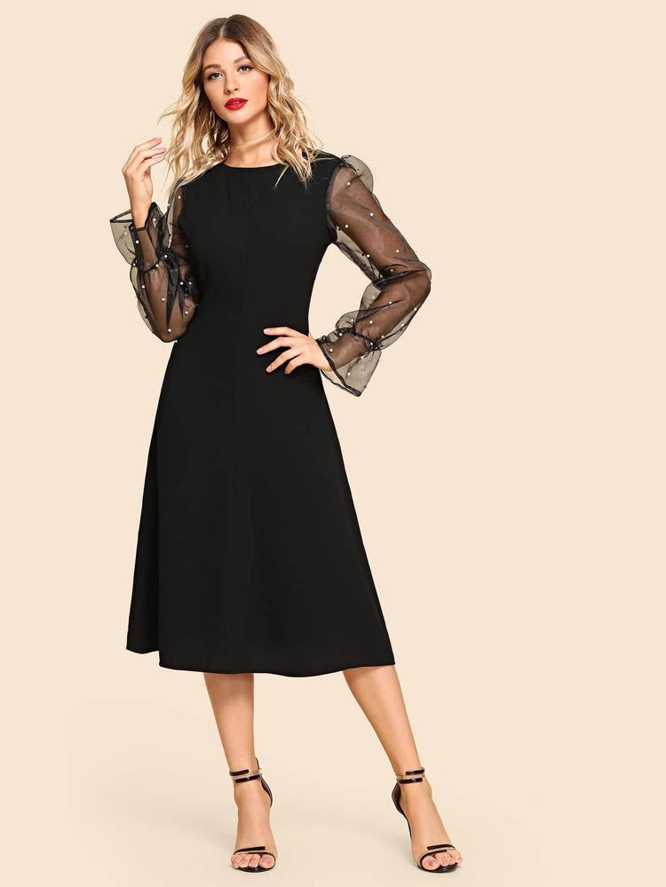 bc785fb98698 Contrast Mesh Beaded Decoration Dress | SHEIN