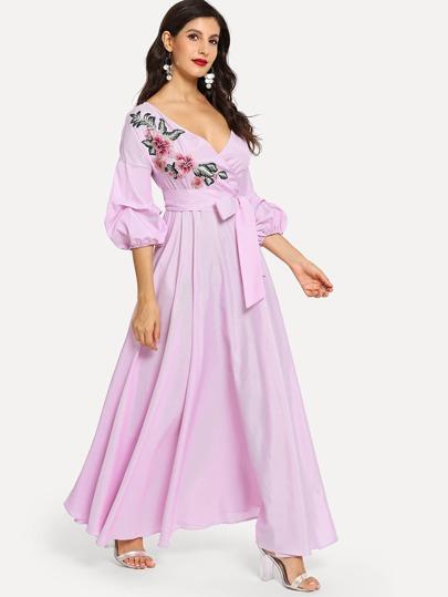 Wrap Dress a maniche corte con motivo a fiori 7066ae85e8c
