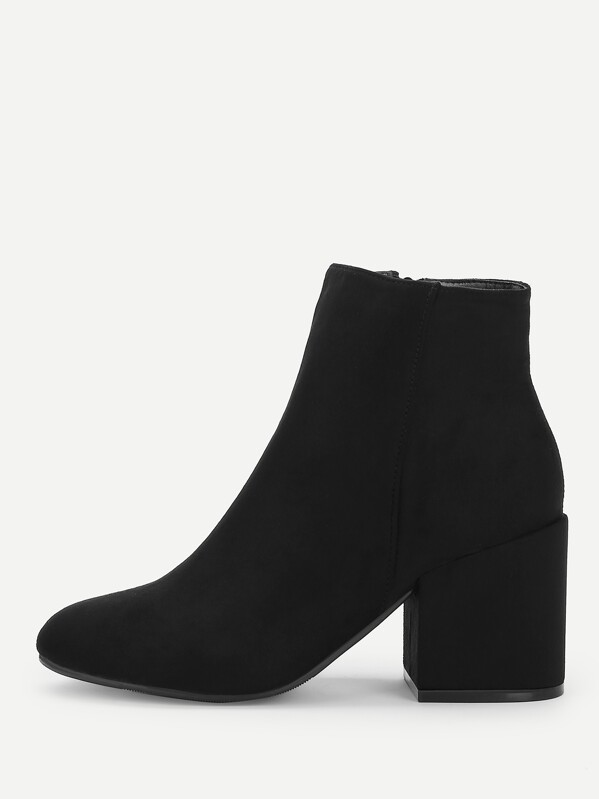 Plain Block Heeled Ankle Boots by Sheinside