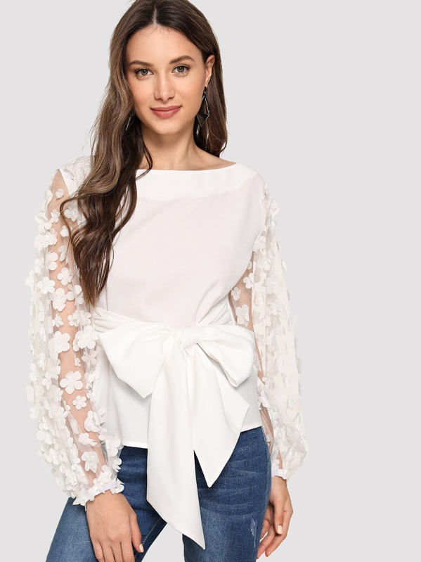 Knot Front Appliques Mesh Sleeve Top by Shein