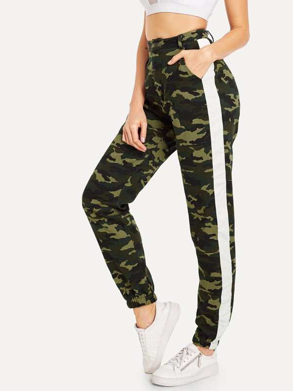 Pantalones con estampado de camuflaje con bolsillo oblicuo-Spanish SheIn( Sheinside) fdee31b7a9f