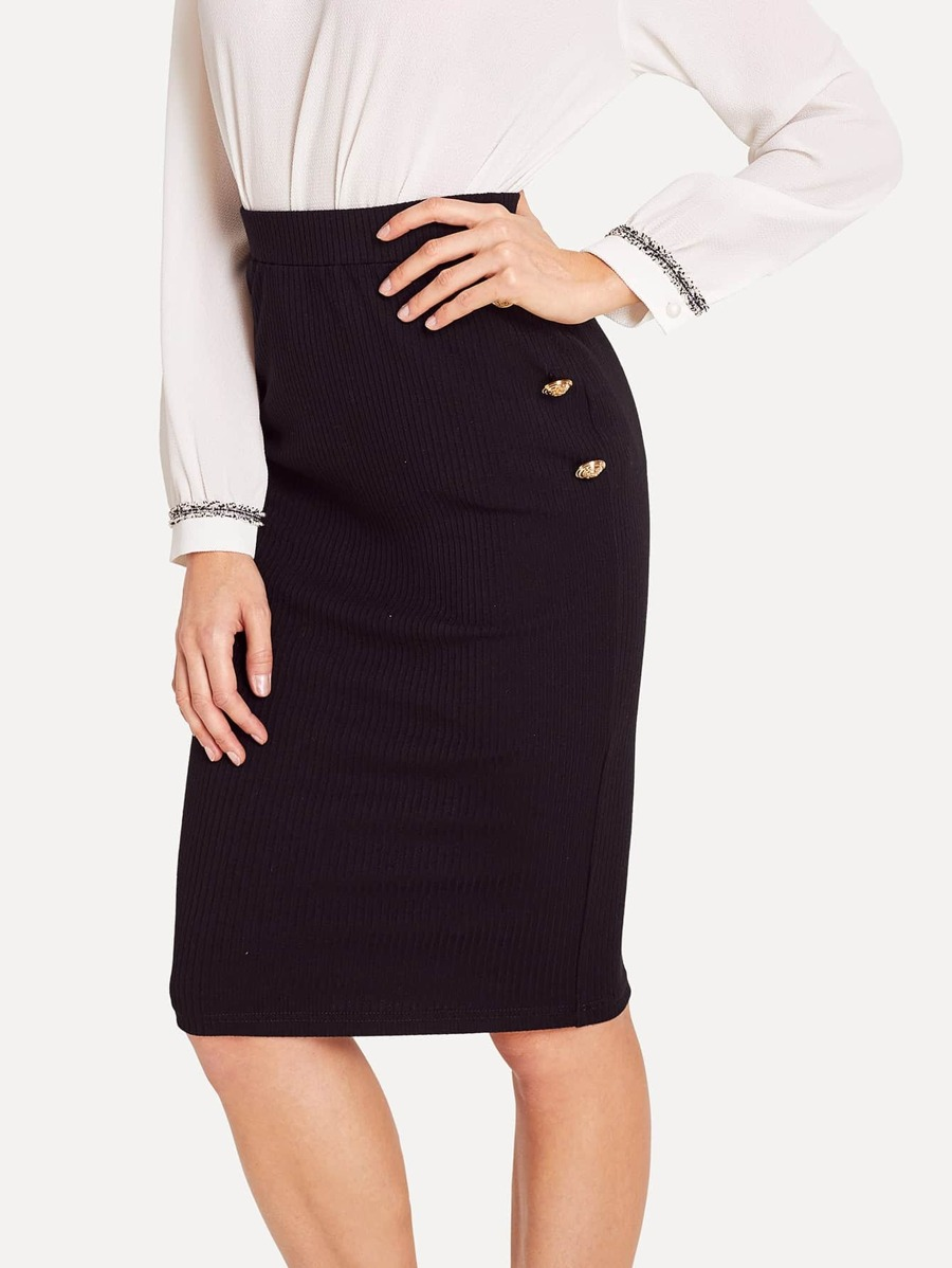 Button Detail Ribbed Knit Bodycon Skirt by Shein
