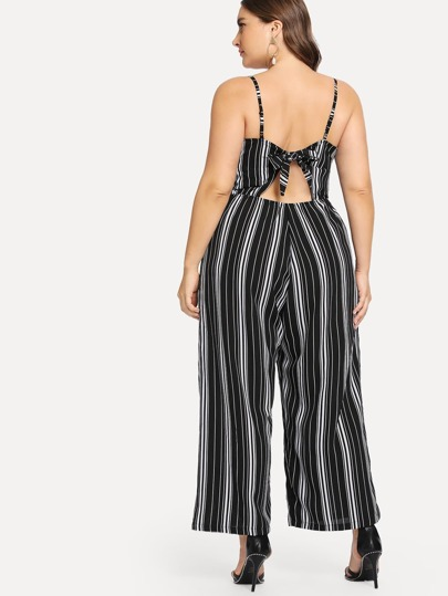 3a2a9bdb1af Plus Vertical Stripe Straight Leg Cami Jumpsuit