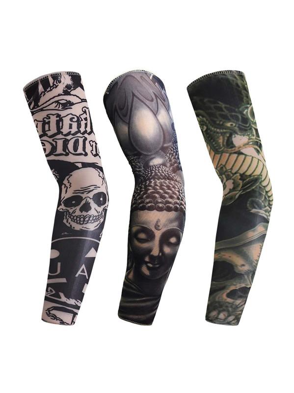 Mangas De Tatuaje De Protector Solar De Hombres 3 Piezas Spanish