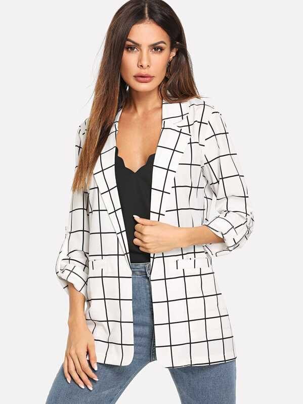 Plaid Roll Up Sleeve Blazer, White, Andy