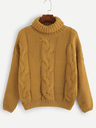 3a462081e8fb High Neck Cable-Knit Sweater