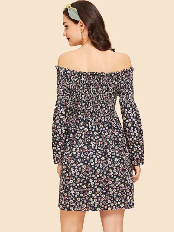 Robe fleurie à épaules dénudées-French SheIn(Sheinside) bc1e50a2dd91