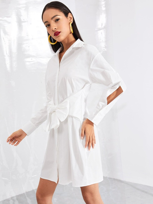Belted Solid Shirt Dress by Shein