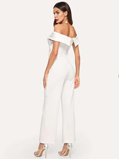 858730025720 Crisscross Fold Over Bardot Jumpsuit -SheIn(Sheinside)