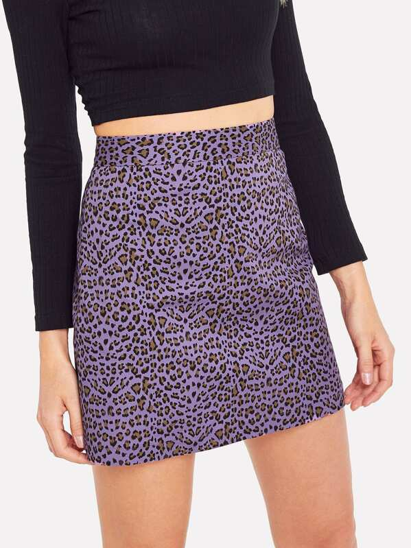 Leopard Print Zip Back Skirt by Shein
