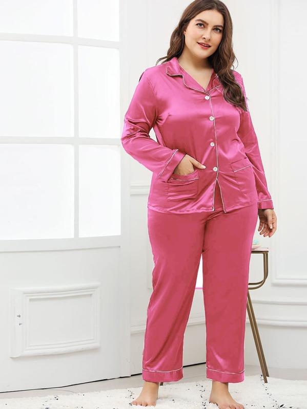 6d87fada10 Plus Contrast Binding Button Up Pajama Set -SheIn(Sheinside)