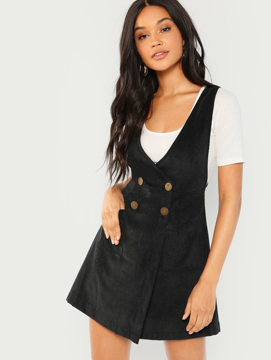 Double Breasted Overlap Corduroy Dress by Shein