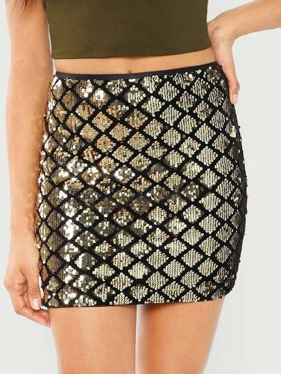 63b24fb7a6edf Sequin Textured Bodycon Skirt