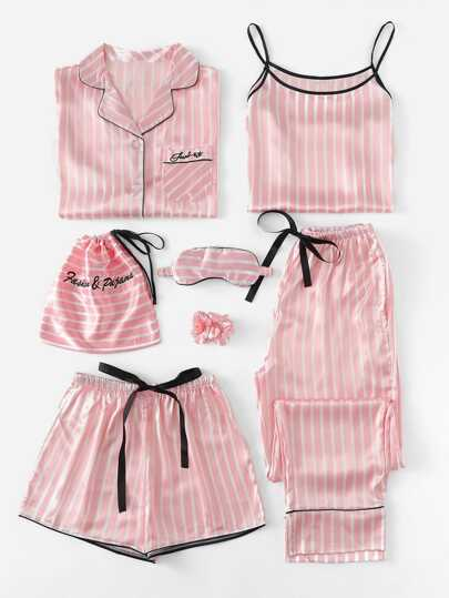 226b96bdc8 7Pcs Letter Embroidered Striped PJ Set With Shirt