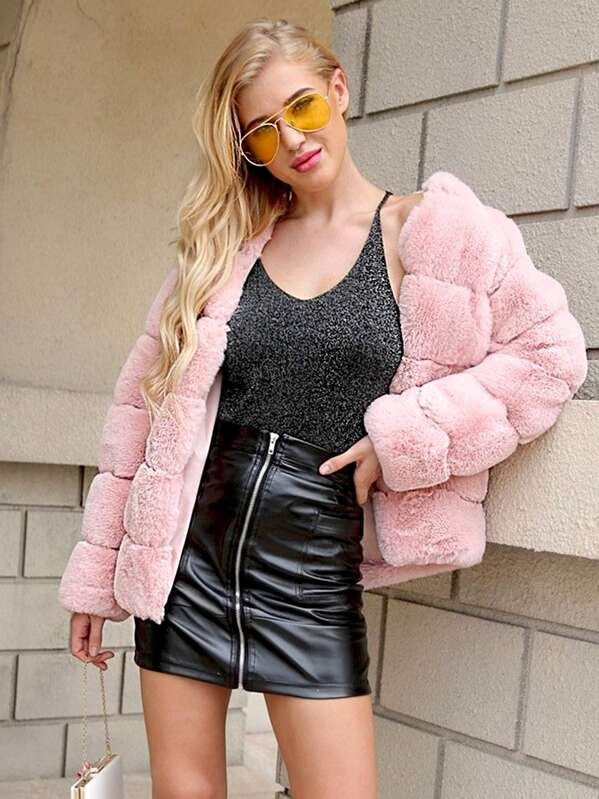 Open Front Faux Fur Outerwear, Pink, SUSU