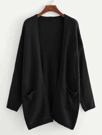 81c1a408e2d66 Pocket Patched Solid Cardigan