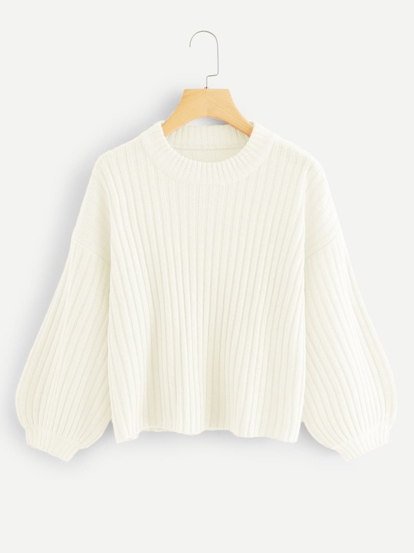 Bishop Sleeve Rib Knit Sweater, White