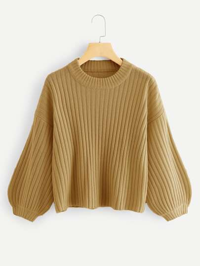 Bishop Sleeve Rib Knit Sweater 6a1095e50