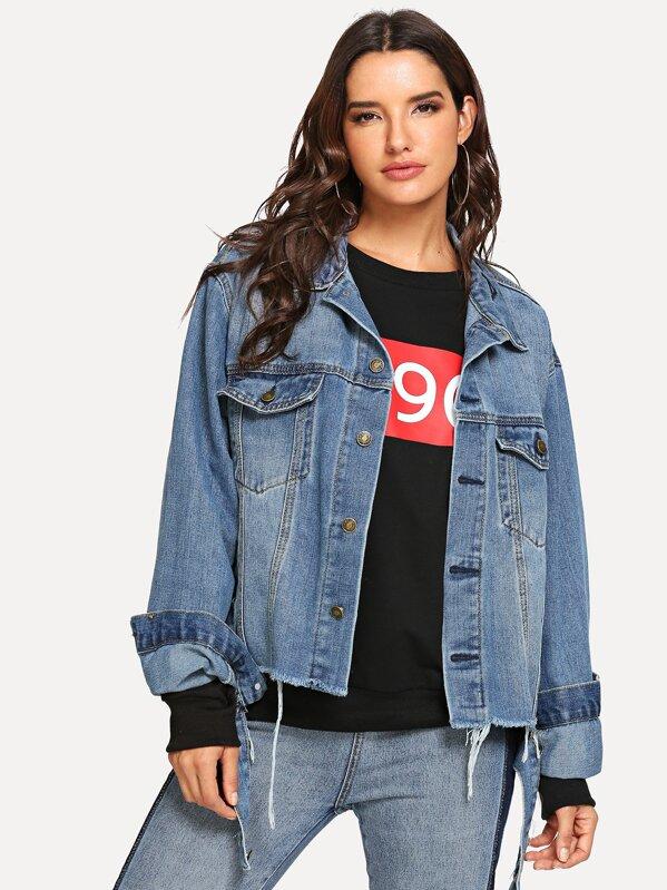 5debfa30da Raw Hem Faded Denim Jacket -SheIn(Sheinside)