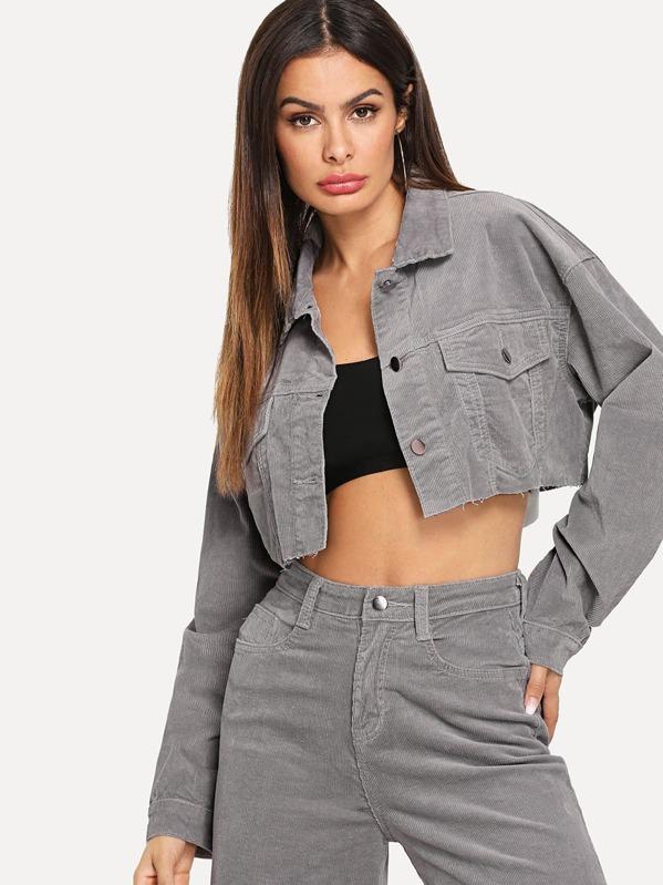 Drop Shoulder Crop Denim Jacket by Sheinside