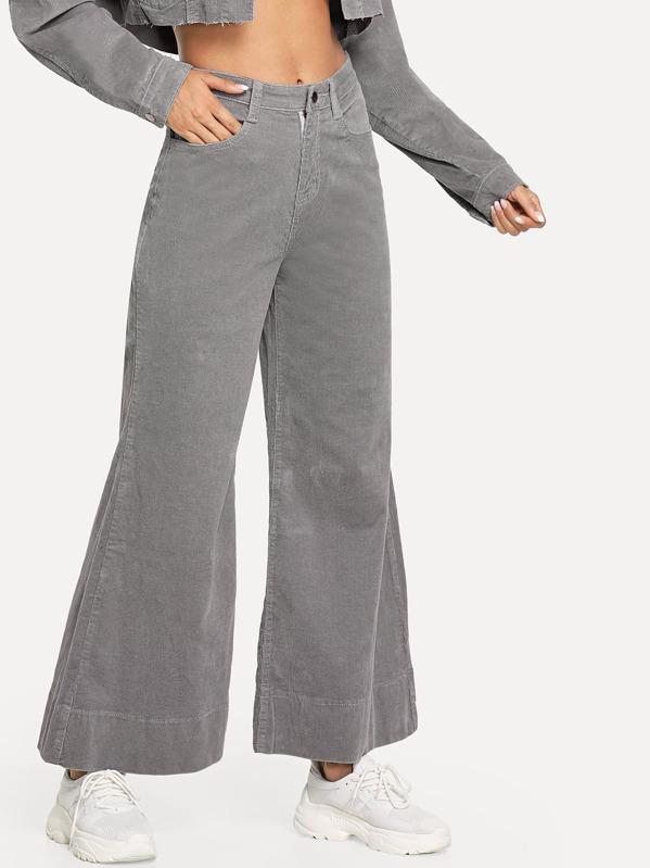 Flare Leg Corduroy Pants by Sheinside