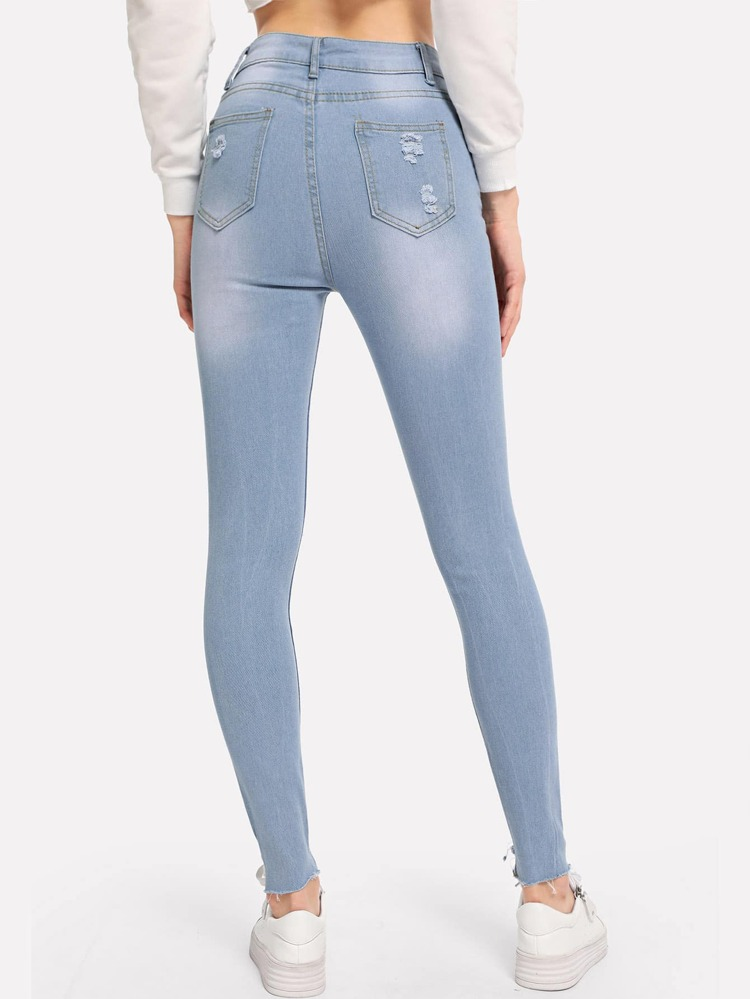 677d3b1dba0 Knee Rips Raw Hem Skinny Jeans | SHEIN