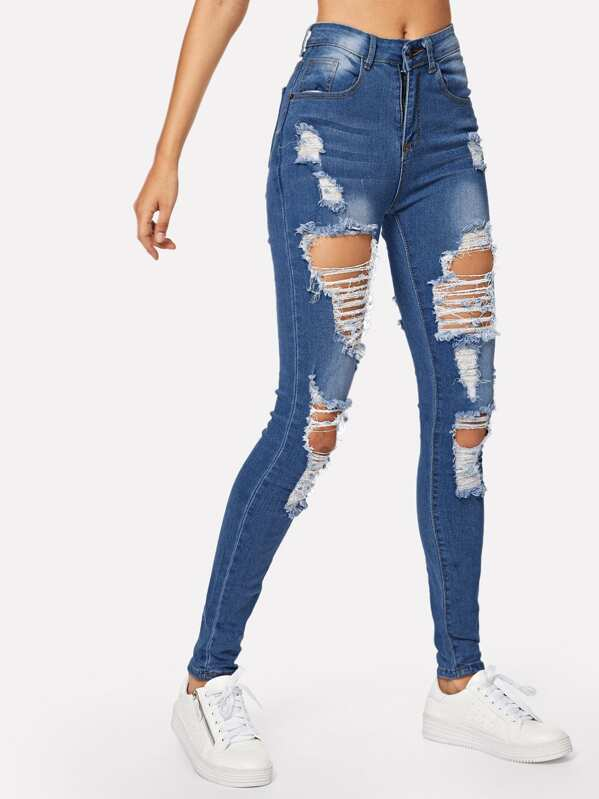 Ripped Bleach Wash Skinny Jeans, Navy, Starl Lane