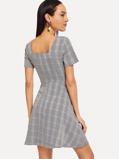e455552c20231 Square Neck Plaid Flare Dress -SheIn(Sheinside)