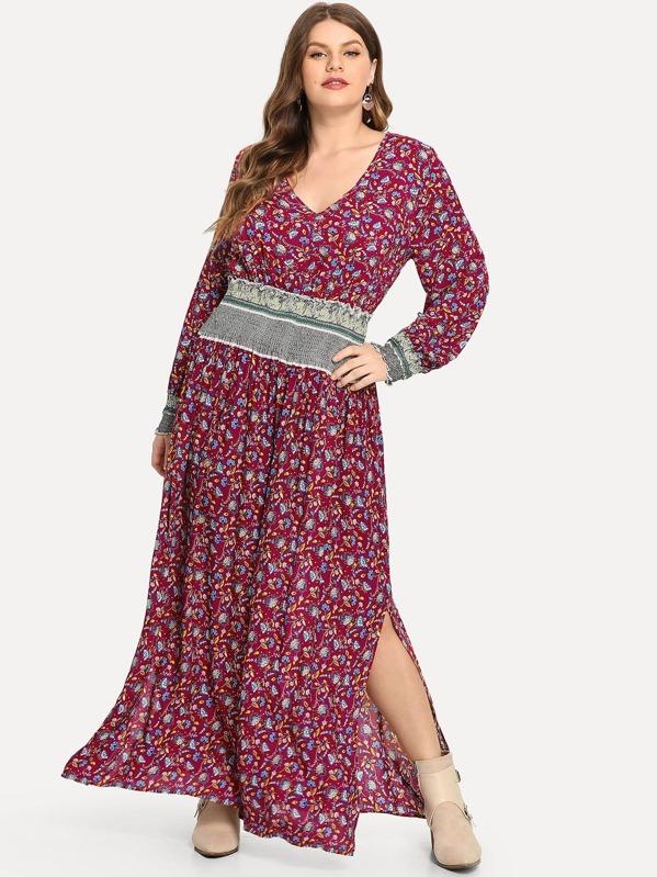 Grande taille Robe fendue plissée imprimée fleur-French SheIn(Sheinside) 5d546db0c00d
