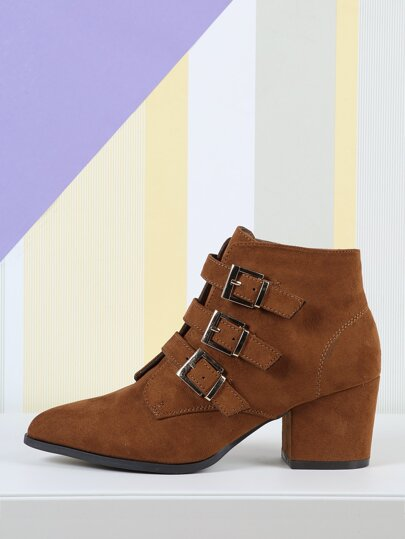 149cb4b1a14 Multi Buckle Faux Suede Booties