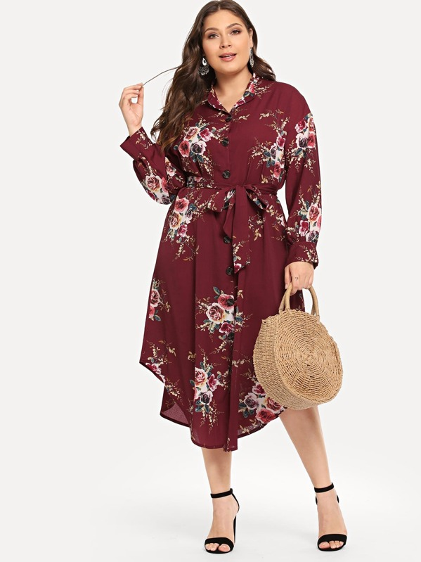Plus Floral Print Belted Curved Hem Dress