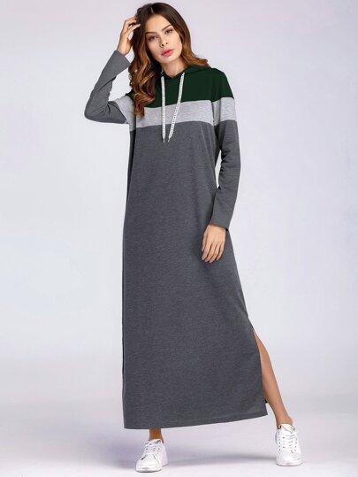 c451b24ff7 Slit Side Maxi Sweatshirt Dress