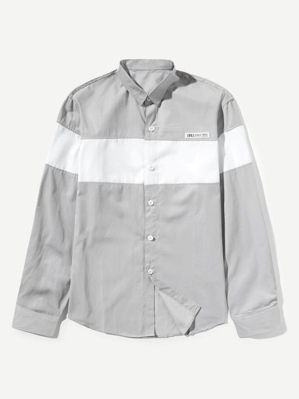 5c889fd0f92c Men Curved Hem Colorblock Shirt -SheIn(Sheinside)