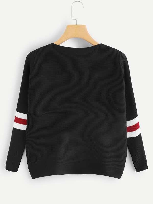 1f156cf509 Contrast Striped Drop Shoulder Sweater -SHEIN(SHEINSIDE)