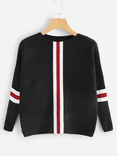 c6451e9147 Contrast Striped Drop Shoulder Sweater