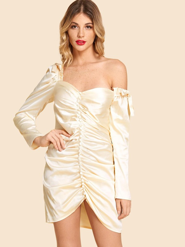 Frill Trim Button Front Sweetheart Dress by Shein
