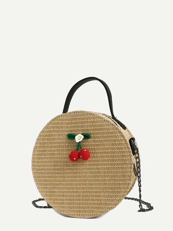 Fruit Decor Straw Chain Bag by Sheinside