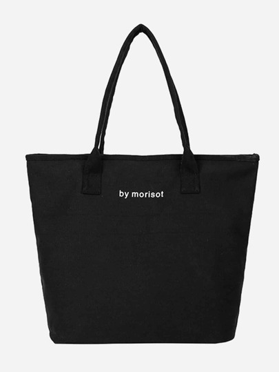 771883f0c061 Slogan Detail Canvas Tote Bag