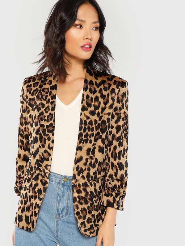 Shawl Collar Gathered Sleeve Leopard Blazer, Multicolor, Meng Zheng