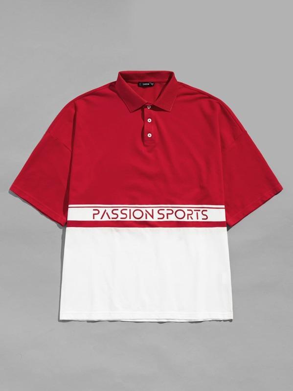 37857858fcc85 Camiseta con cuello de hombres con estampado de letra de color block con  botón-Spanish SheIn(Sheinside)