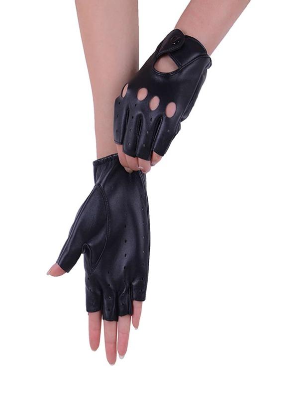 Men Hollow Out Half Finger Gloves Shein Sheinside