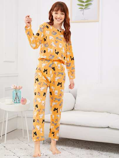 b383780de8 Cat   Butterfly Print Pajama Set